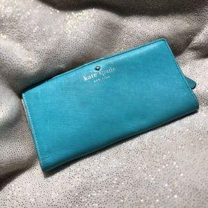 Kate Spade Turquoise Slim Bifold Wallet